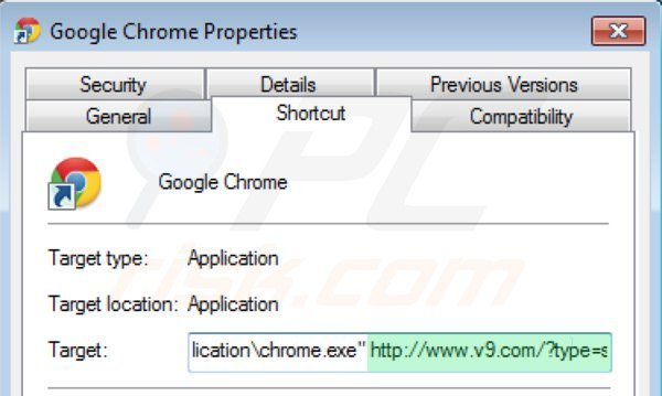 Removing v9.com from Google Chrome shortcut target step 2