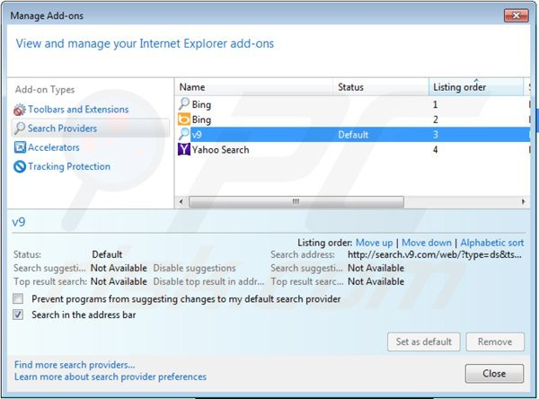 Removing v9.com from Internet Explorer default search engine