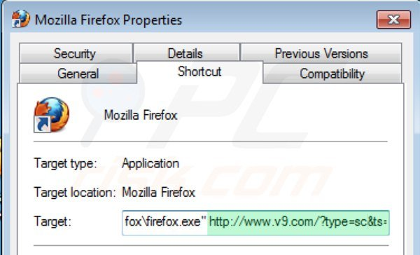 Removing v9.com from Mozilla Firefox shortcut target step 2
