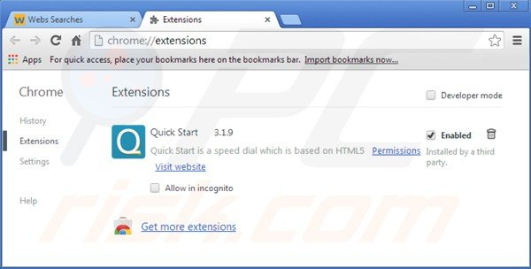 Removing istart.webssearches.com related Google Chrome extensions