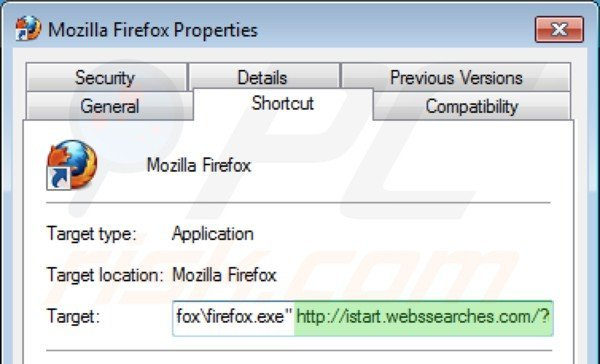 Removing istart.webssearches.com from Mozilla Firefox shortcut target step 2