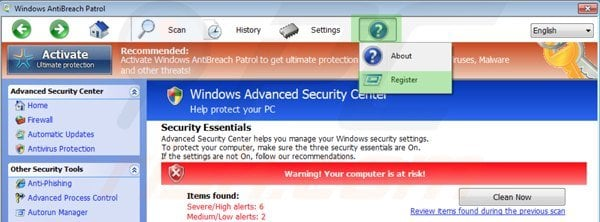 Removing Windows Antibreach Patrol using registration key step 1