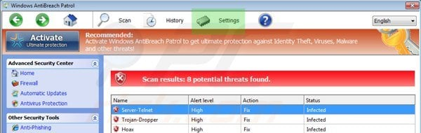 Windows Antibreach Patrol settings
