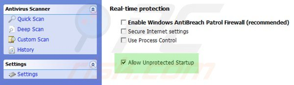 Enabling unprotected startup for Windows Antibreach Patrol