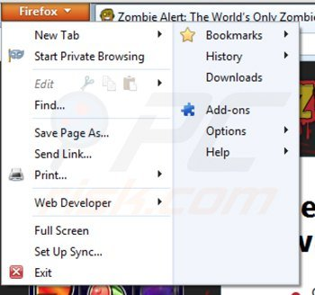Removing zombie alert from Mozilla Firefox step 1