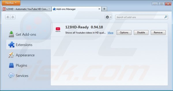 Removing 123hd-ready from Mozilla Firefox step 2