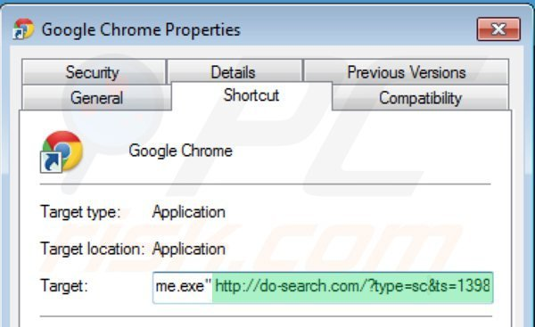 Removing 22find.com from Google Chrome shortcut target step 2