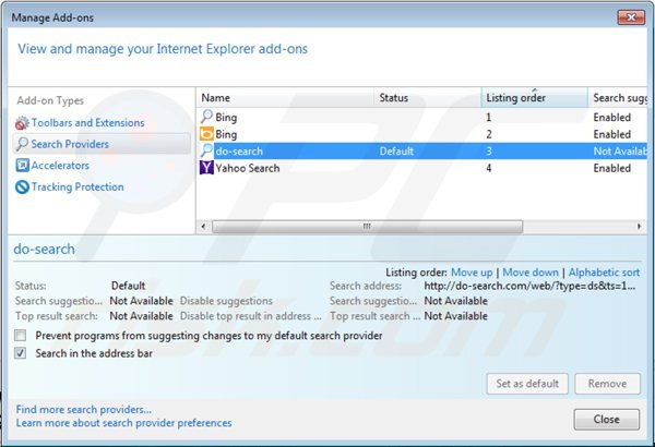 Removing 22find.com from Internet Explorer default search engine settings