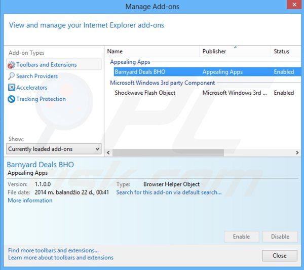 Removing barnyard deals from Internet Explorer step 2