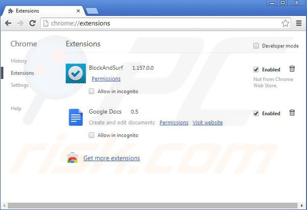 Removing BlockIt from Google Chrome step 2