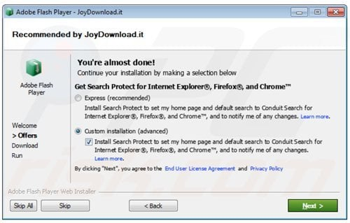 conduit browser hijacker installer