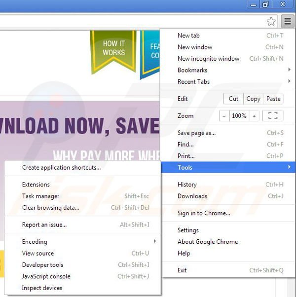 Removing Coupon Downloader from Google Chrome step 1