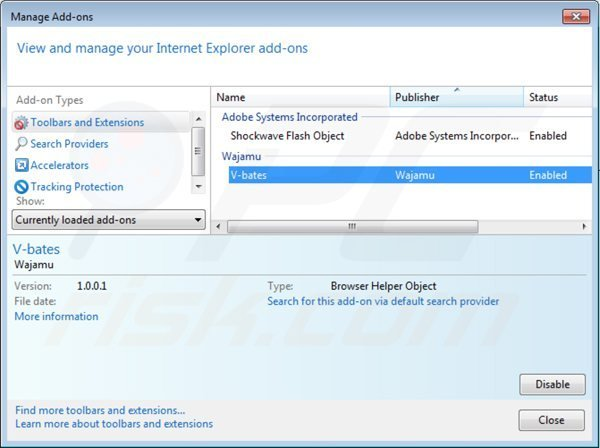 Removing dailyofferservice ads from Internet Explorer step 2