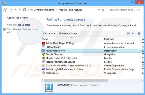 ftdownloader adware uninstall via Control Panel