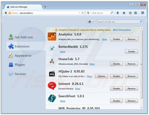 Removing hqube ads from Mozilla Firefox step 2