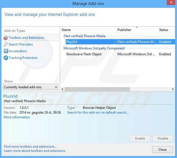 Removing plusvid from Internet Explorer step 2