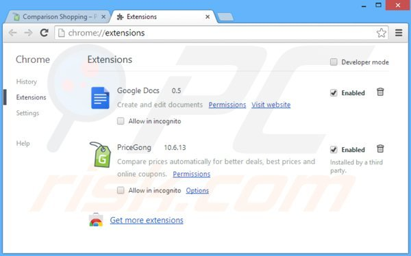 Removing pricegong ads from Google Chrome step 2