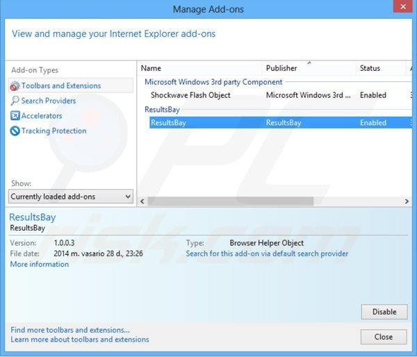 Removing resultsbay ads from Internet Explorer step 2