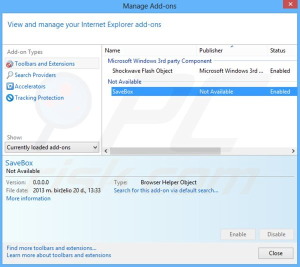 Removing savebox from Internet Explorer step 2