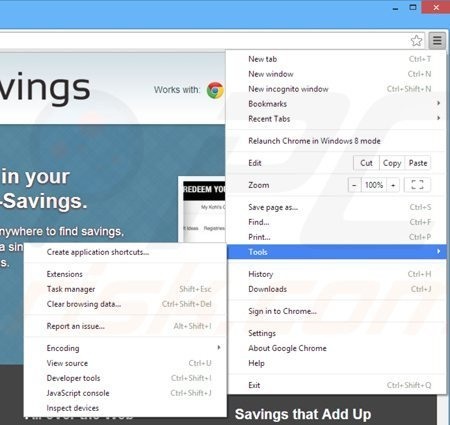Removing sharp savings from Google Chrome step 1