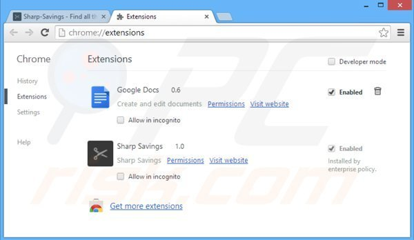 Removing sharp savings from Google Chrome step 2