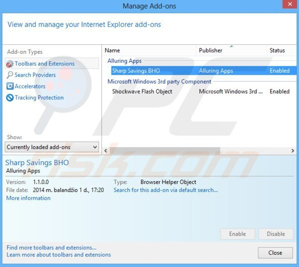 Removing sharp savings from Internet Explorer step 2