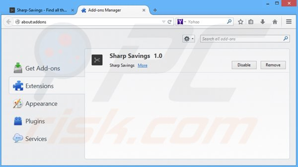 Removing sharp savings from Mozilla Firefox step 2