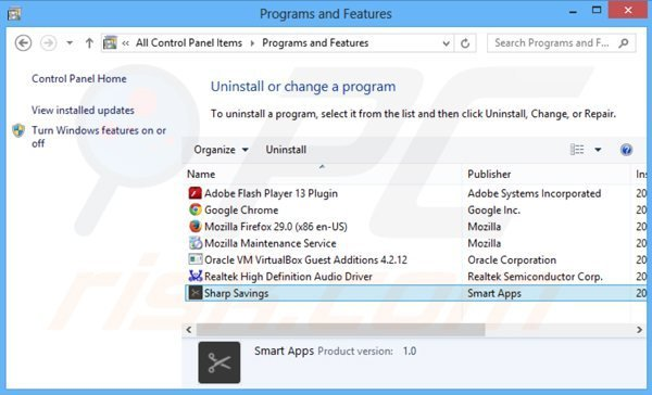sharp savings adware uninstall via Control Panel