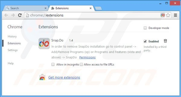 Removing snapdo.com from related Google Chrome extensions