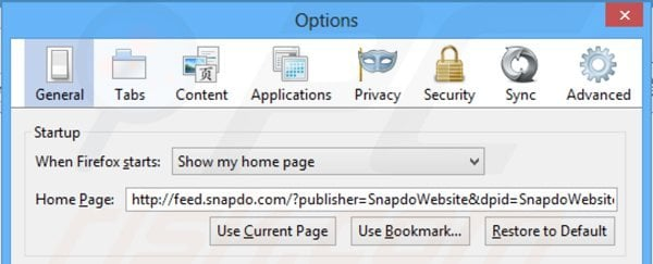 Removing feed.snapdo.com from Mozilla Firefox homepage