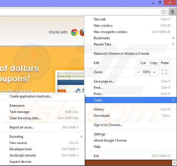 Uninstall bee coupons chrome