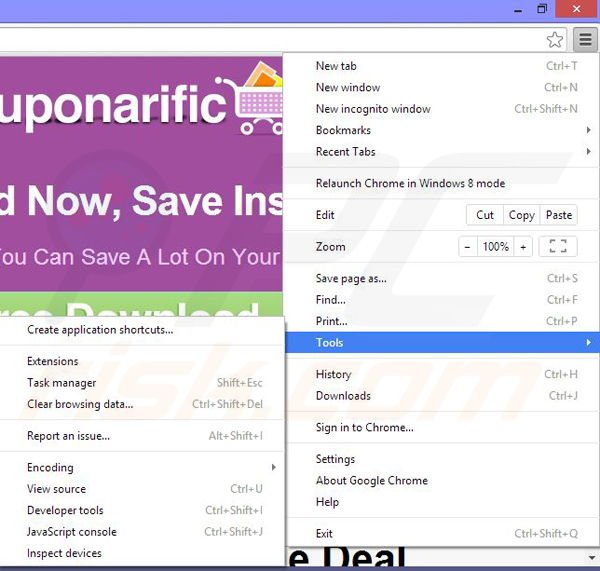 Removing Couponarific ads from Google Chrome step 1