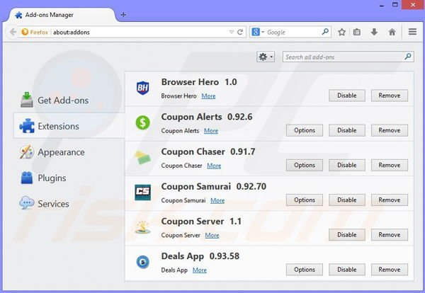 Removing Couponarific ads from Mozilla Firefox step 2