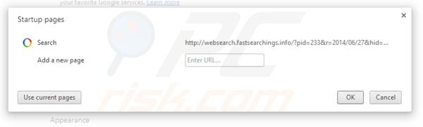 Removing websearch.fastsearchings.info from Google Chrome homepage