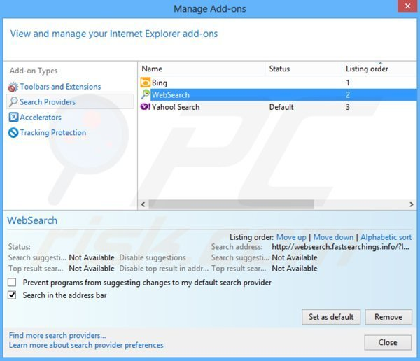 Removing websearch.fastsearchings.info from Internet Explorer default search engine