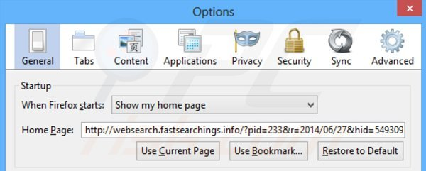Removing websearch.fastsearchings.info from Mozilla Firefox homepage