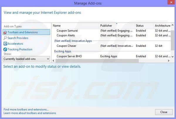 Removing PennyBee ads from Internet Explorer step 2