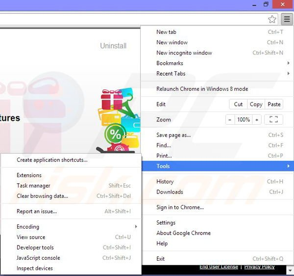 Removing Shopping Assistant from Google Chrome step 1