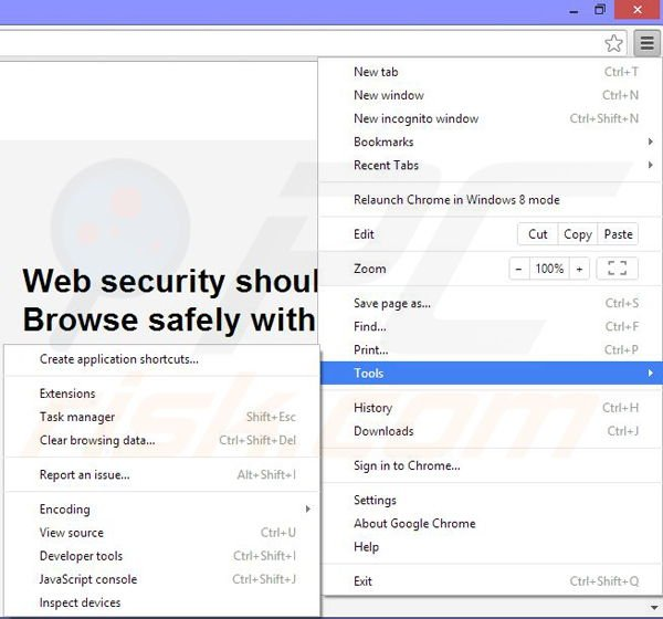 Removing Web Security App ads from Google Chrome step 1