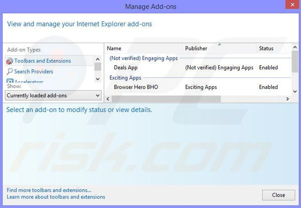 Removing Web Security App ads from Internet Explorer step 2
