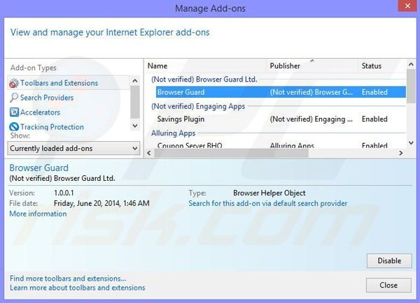 Removing BrowserWarden ads from Internet Explorer step 2