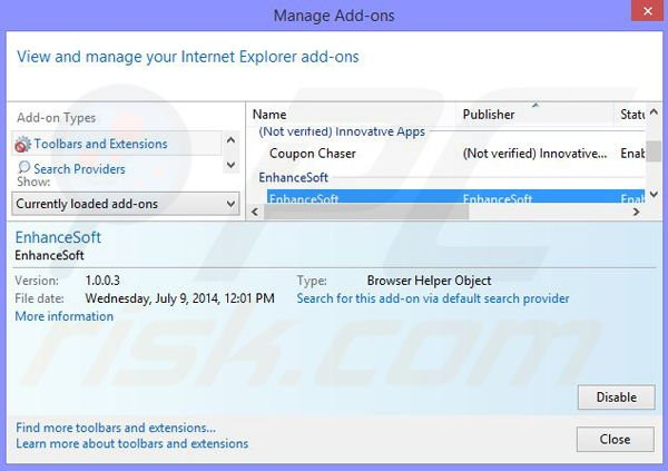 Removing Cantataweb from Internet Explorer step 2