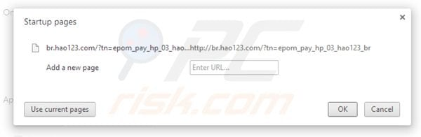 Removing hao123.com from Google Chrome homepage