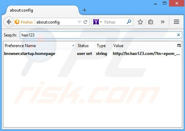 Removing hao123.com from Mozilla Firefox default search engine