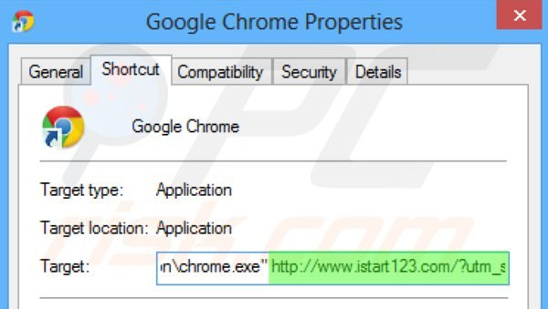 Removing istart123.com from Google Chrome shortcut target step 2