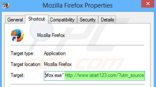 Removing istart123.com from Mozilla Firefox shortcut target step 2
