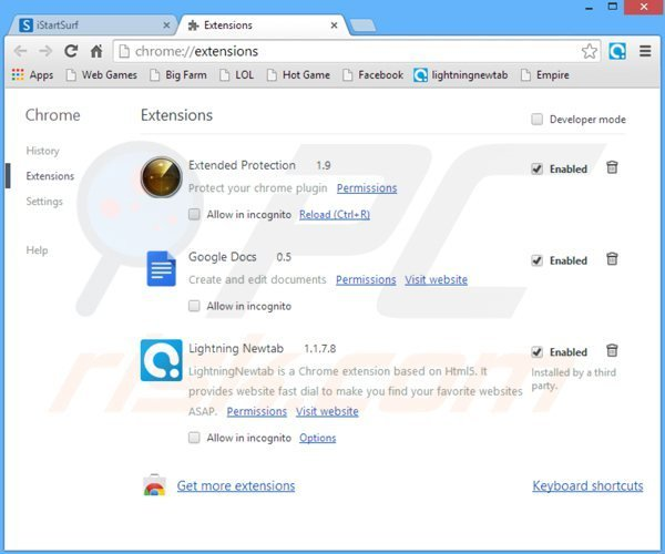 Removing istartsurf.com related Google Chrome extensions