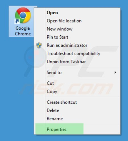 Removing istartsurf.com from Google Chrome shortcut target step 1