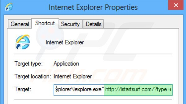 Removing istartsurf.com from Internet Explorer shortcut target step 2