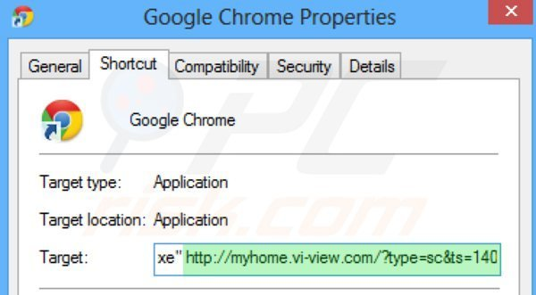 Removing myhome.vi-view.com from Google Chrome shortcut target step 2